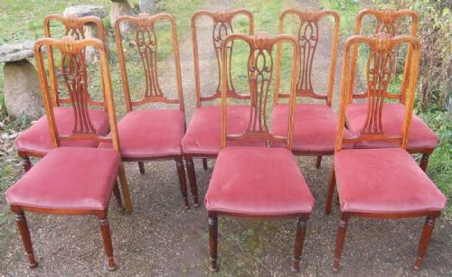 set of eight edwardian inlaid mahogany dining chairs
