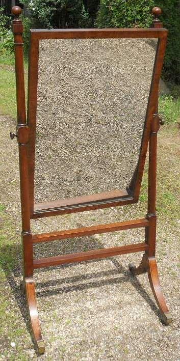 georgian small mahogany framed cheval dressing mirror