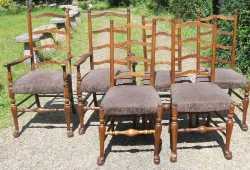 set of six arts craft elm dining chairs