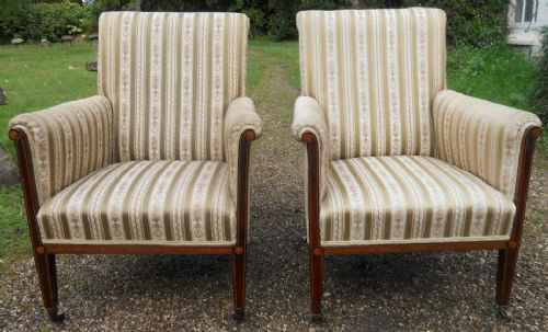 pair edwardian inlaid mahogany upholstered salon armchairs