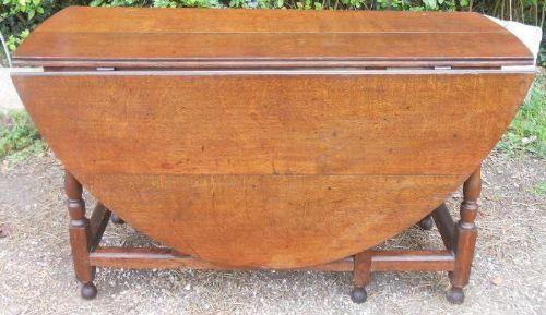 antique large oval oak gateleg dining table
