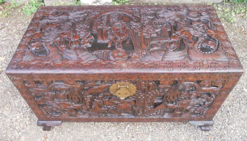 oriental carved camphor wood chest