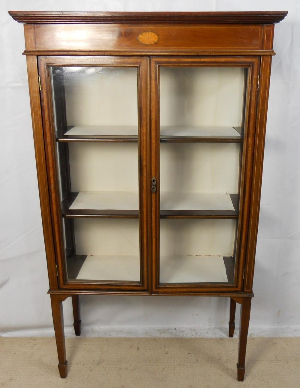 Edwardian Inlaid Mahogany China Display Cabinet 241234 Sellingantiques Co Uk
