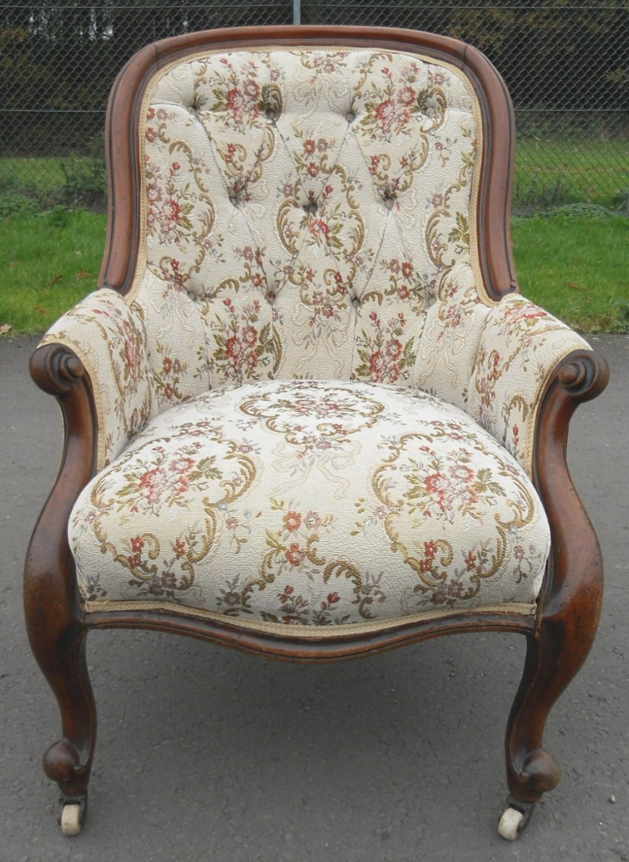 victorian mahogany spoonback fireside armchair