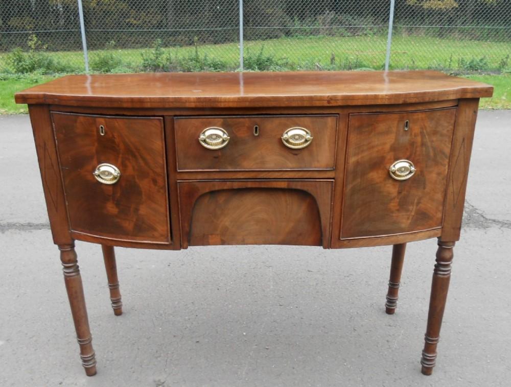 georgian mahogany small bowfront sideboard