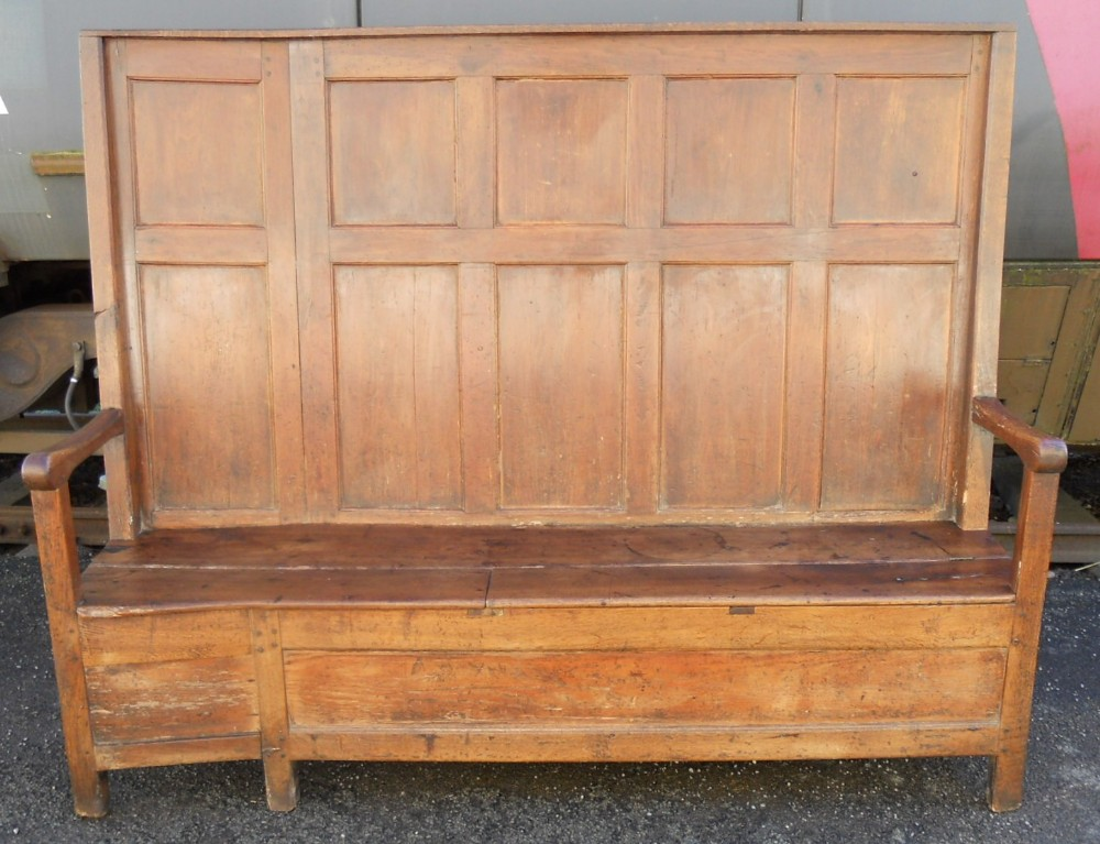 georgian oak elm tavern box panelled settle