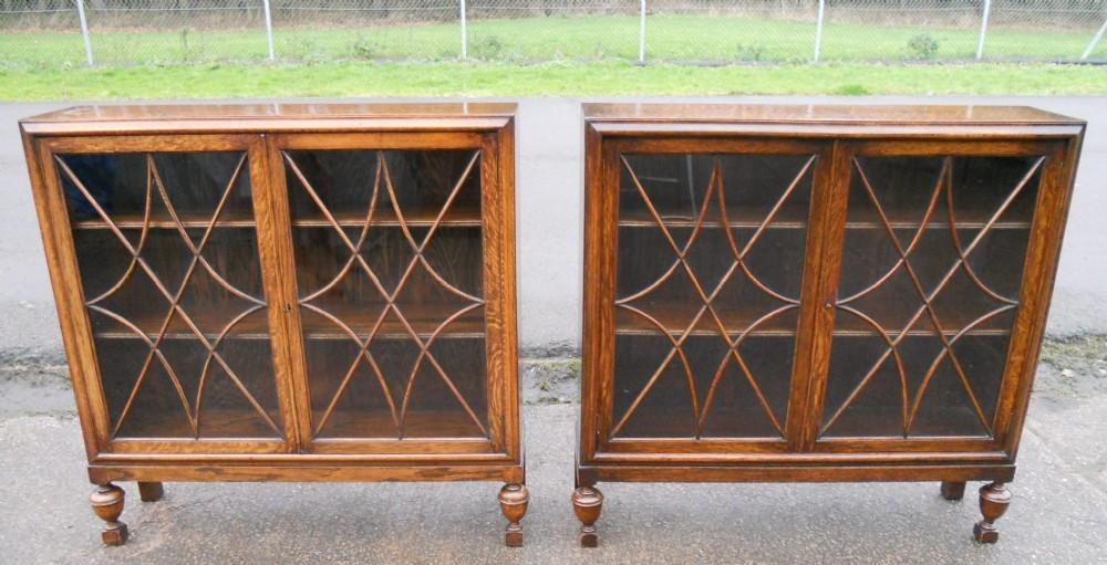 pair oak bookcase cabinets