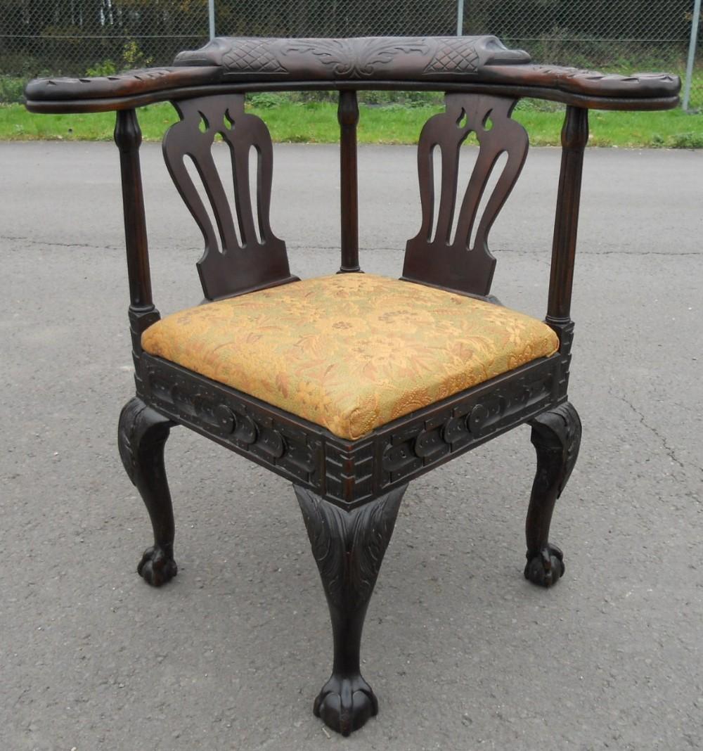 victorian carved oak corner armchair