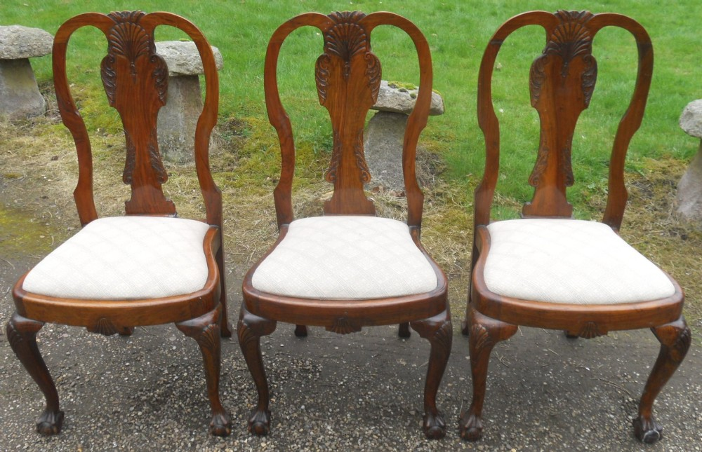 set of three queen anne style walnut dining chairs