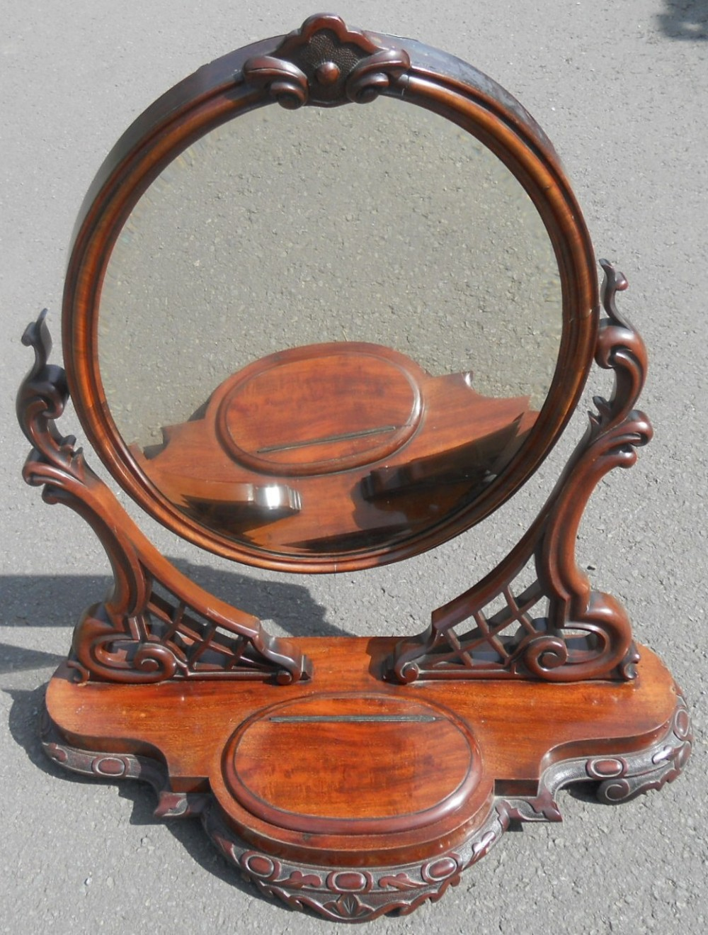victorian mahogany oval dressing mirror