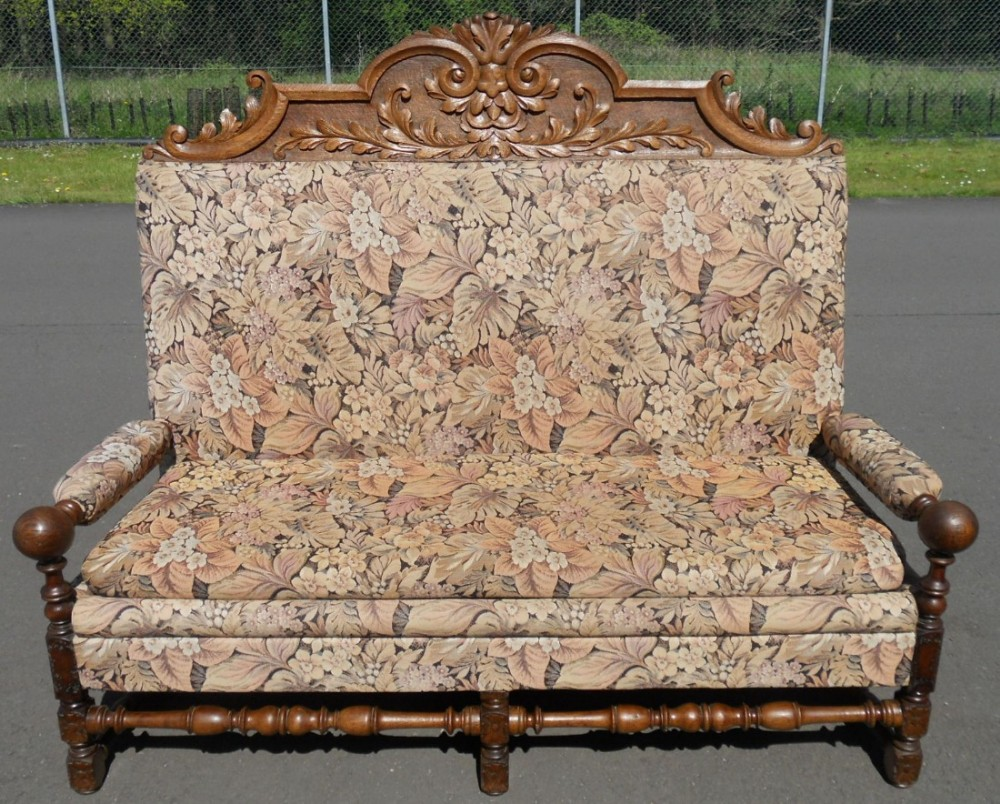 victorian carved oak upholstered hall settle seat