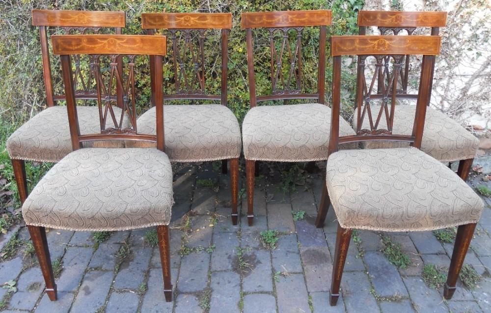 set of six sheraton style inlaid mahogany dining chairs