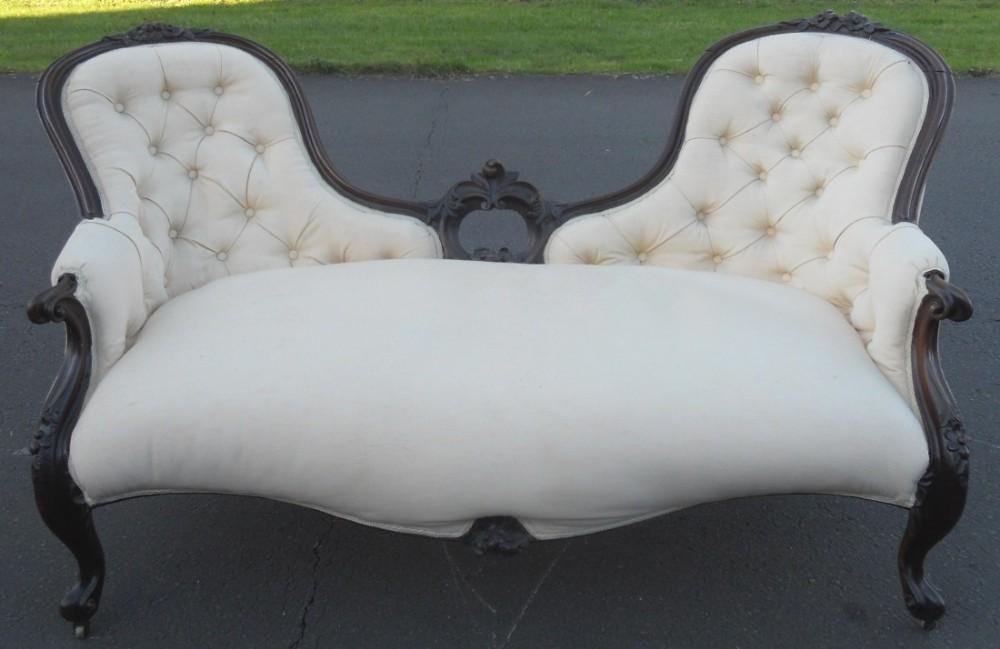 victorian mahogany framed upholstered settee