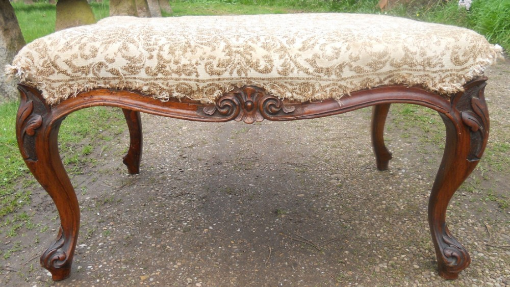 victorian carved mahogany upholstered stool