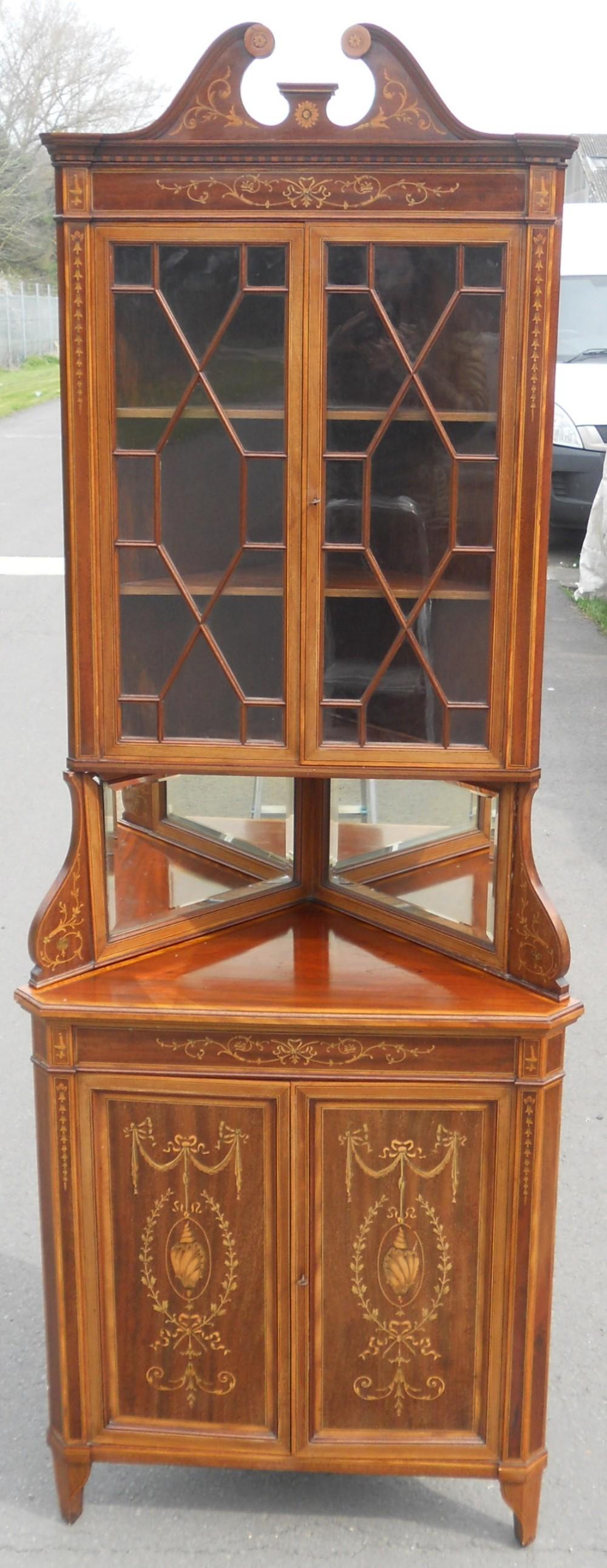 edwardian inlaid mahogany double corner cupboard