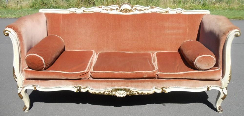 edwardian large decorated upholstered settee