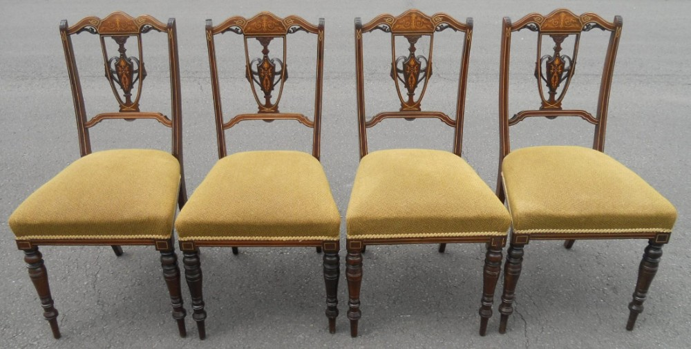 set of four edwardian inlaid mahogany salon chairs
