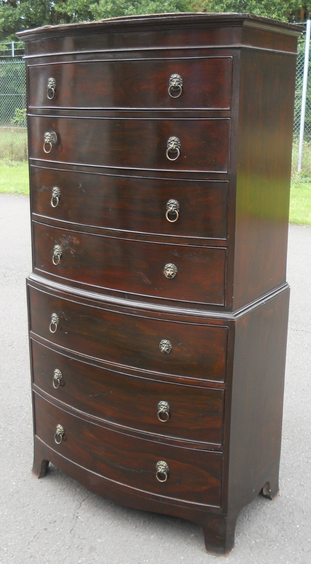 bowfront mahogany chest on chest