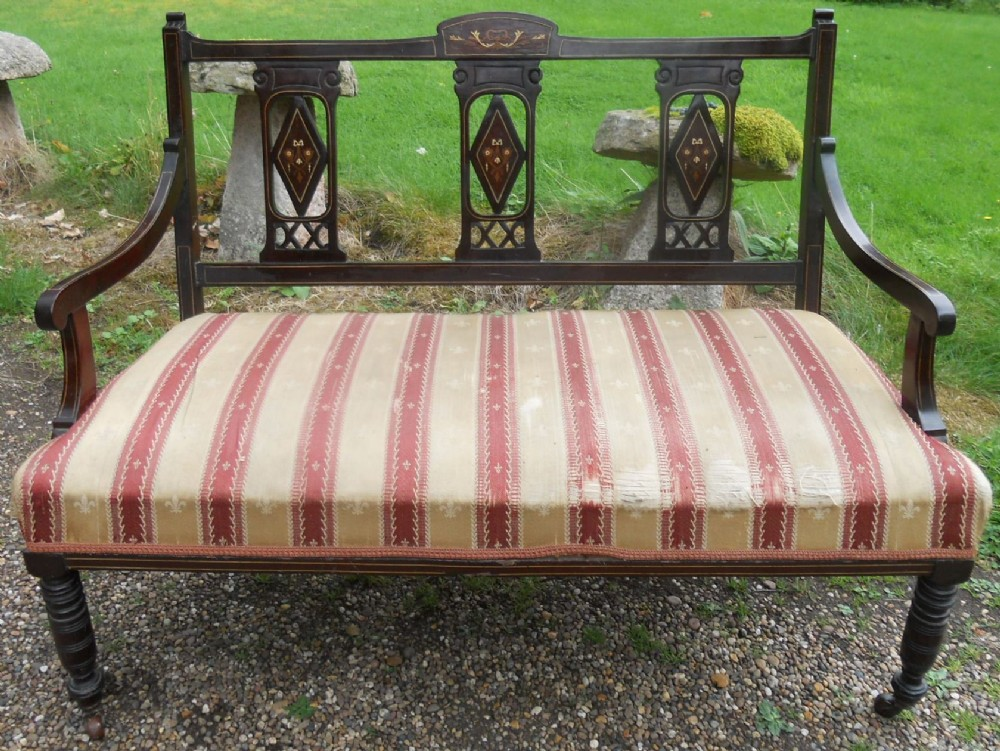 edwardian inlaid mahogany two seater salon settee