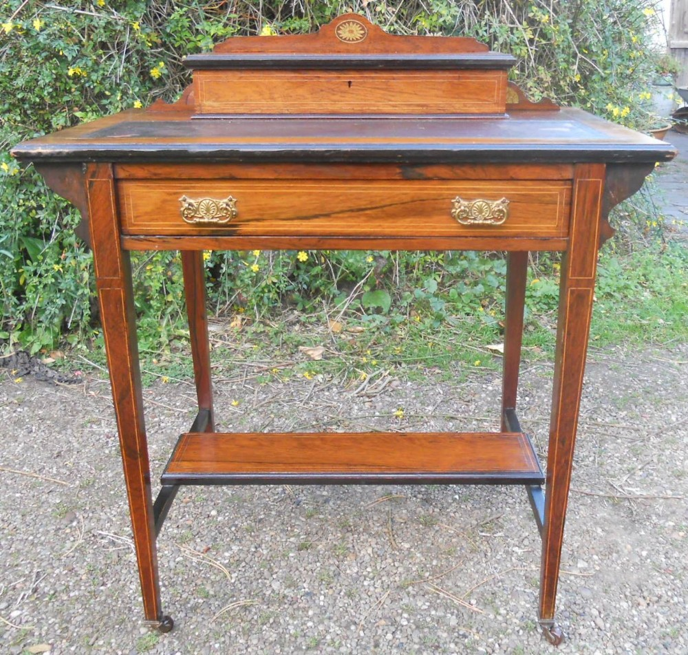 edwardian ladies small inlaid rosewood desk