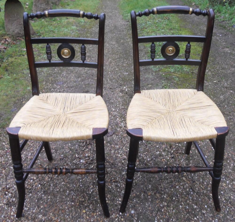 pair regency ebonized side chairs