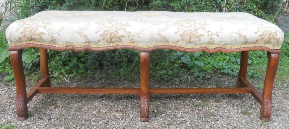 edwardian walnut three seater upholstered stool