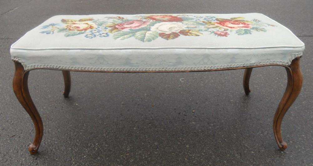 victorian walnut long upholstered stool
