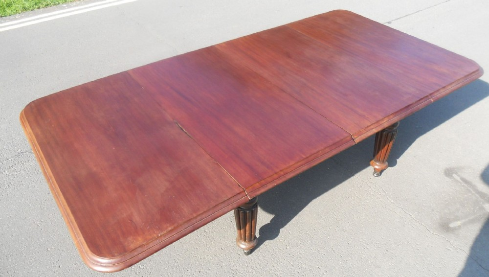 william iv large mahogany extending dining table unrestored