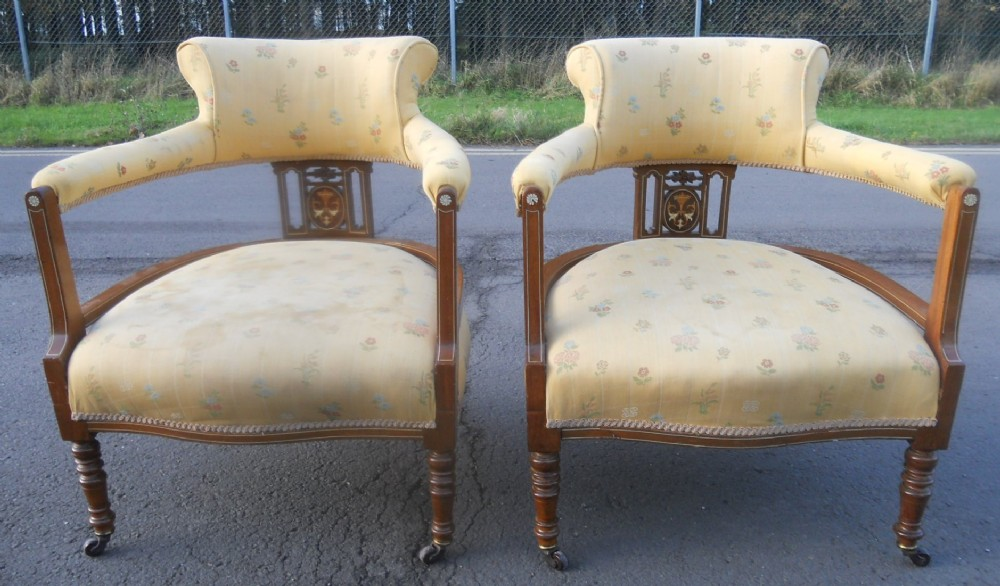 pair edwardian inlaid mahogany tub armchairs