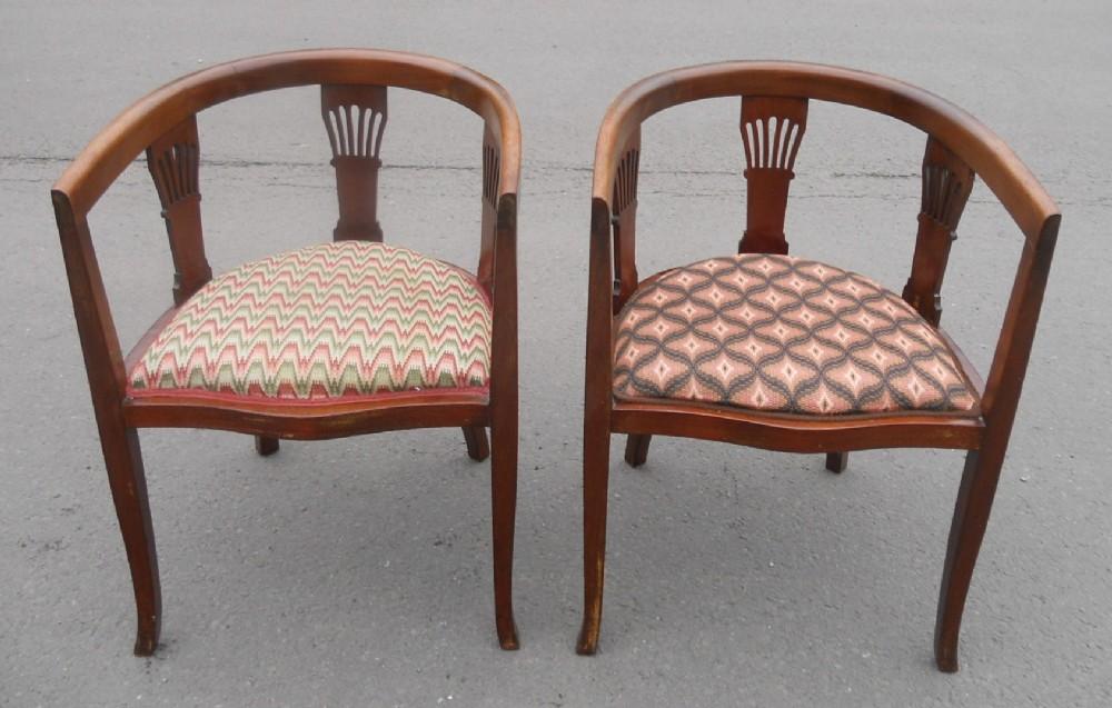 pair edwardian mahogany tub salon armchairs