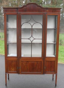 Superior Harrison Antique Furniture · EDWARDIAN MAHOGANY DISPLAY CHINA CABINET