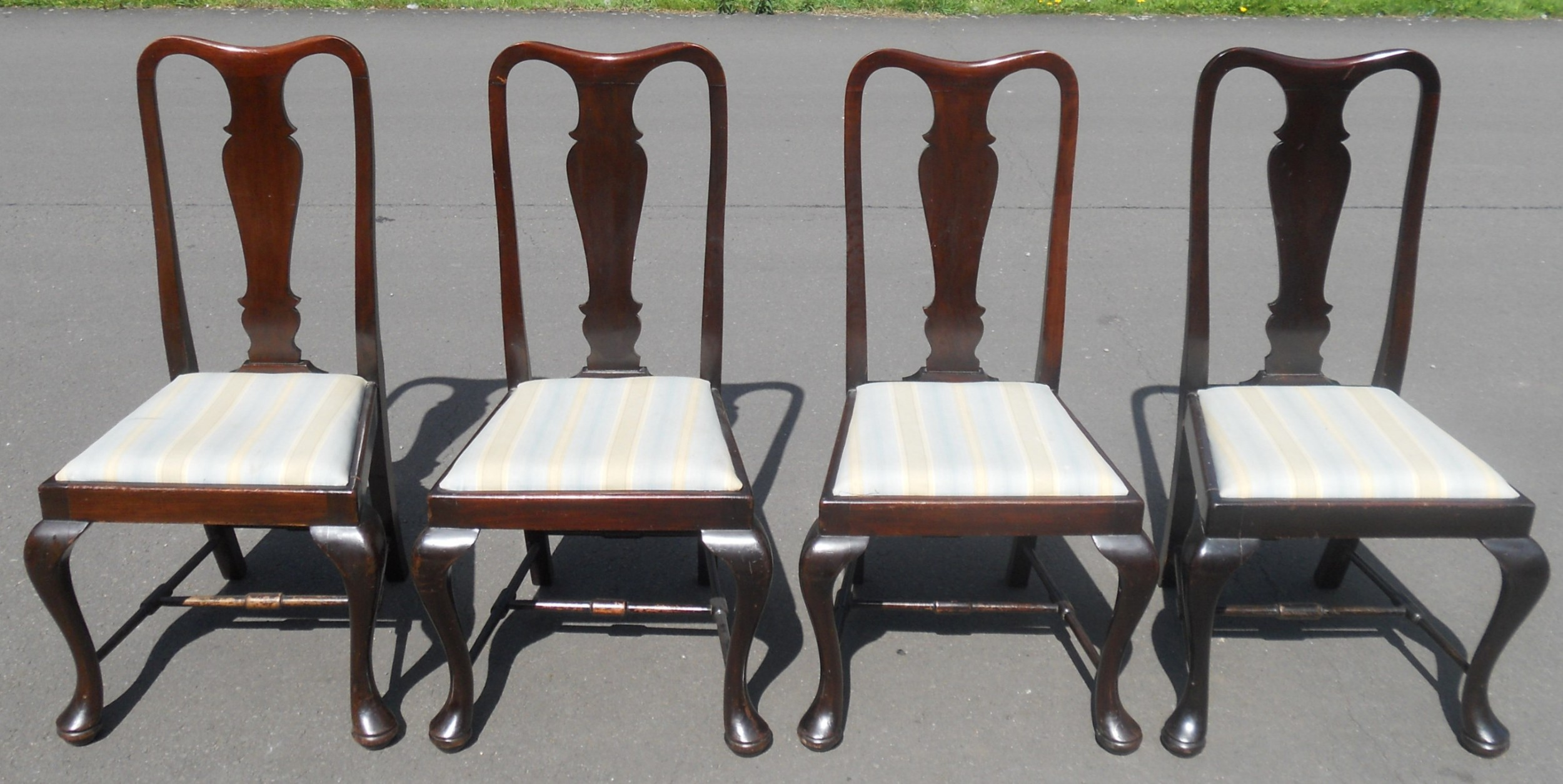 set of four mahogany highback dining chairs