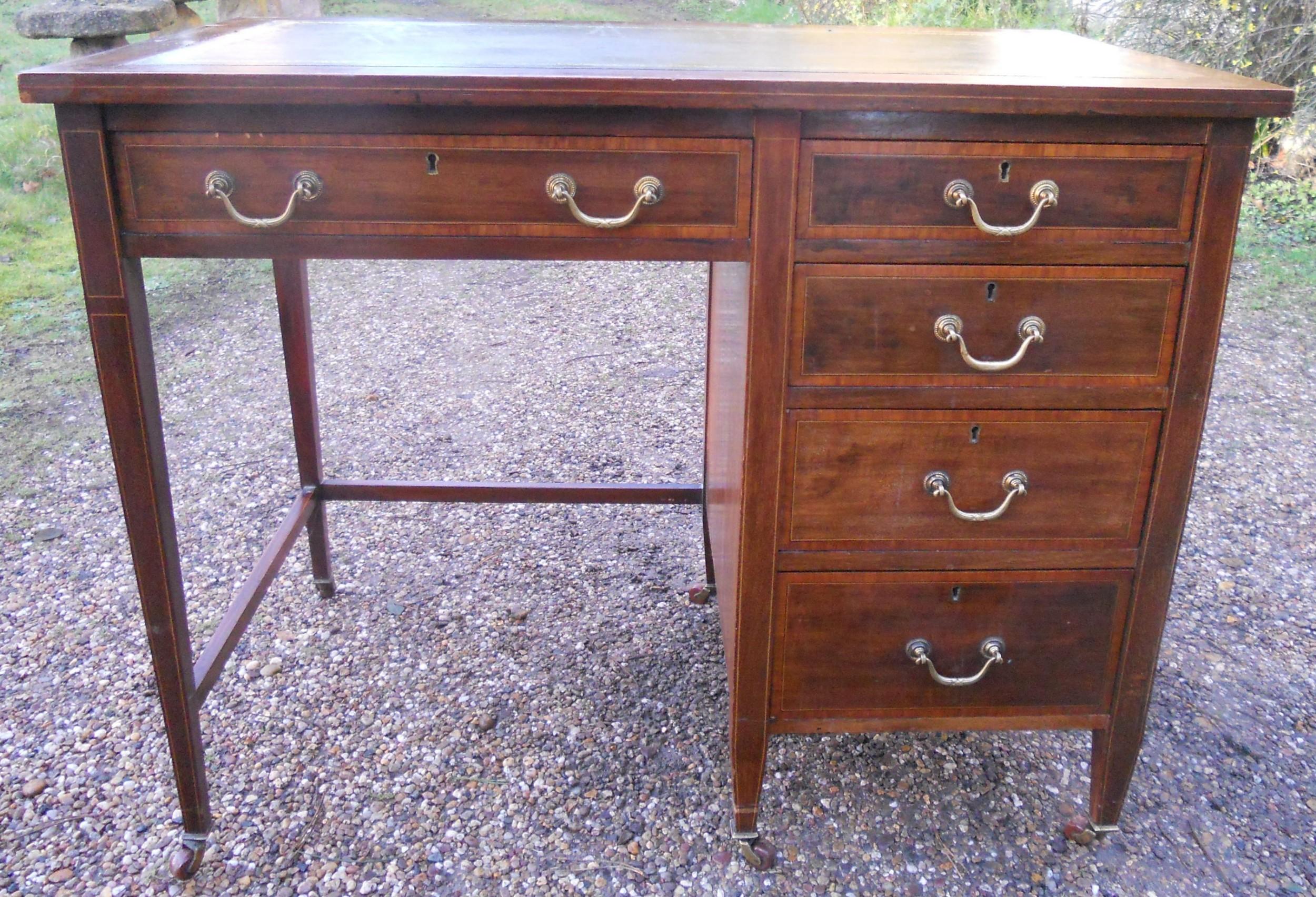 edwardian inlaid mahogany small writing desk