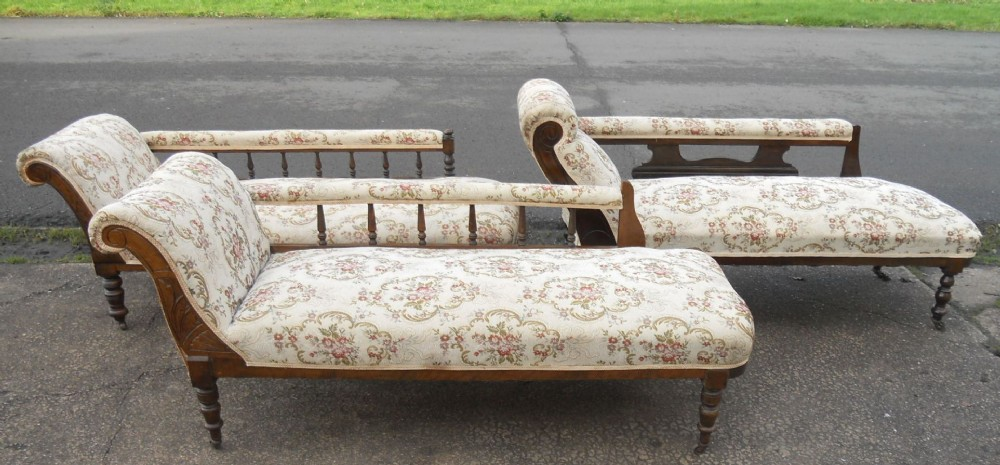 Three edwardian walnut framed upholstered chaise longue for Antique edwardian chaise longue