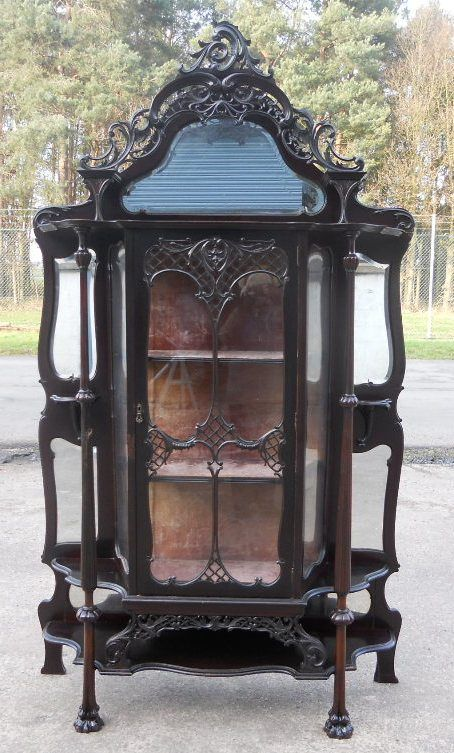 victorian ebonized mirrorback china display cabinet