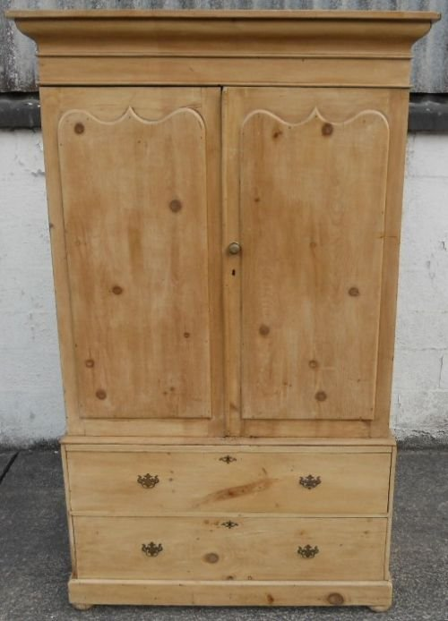 victorian pine hanging linen press cupboard