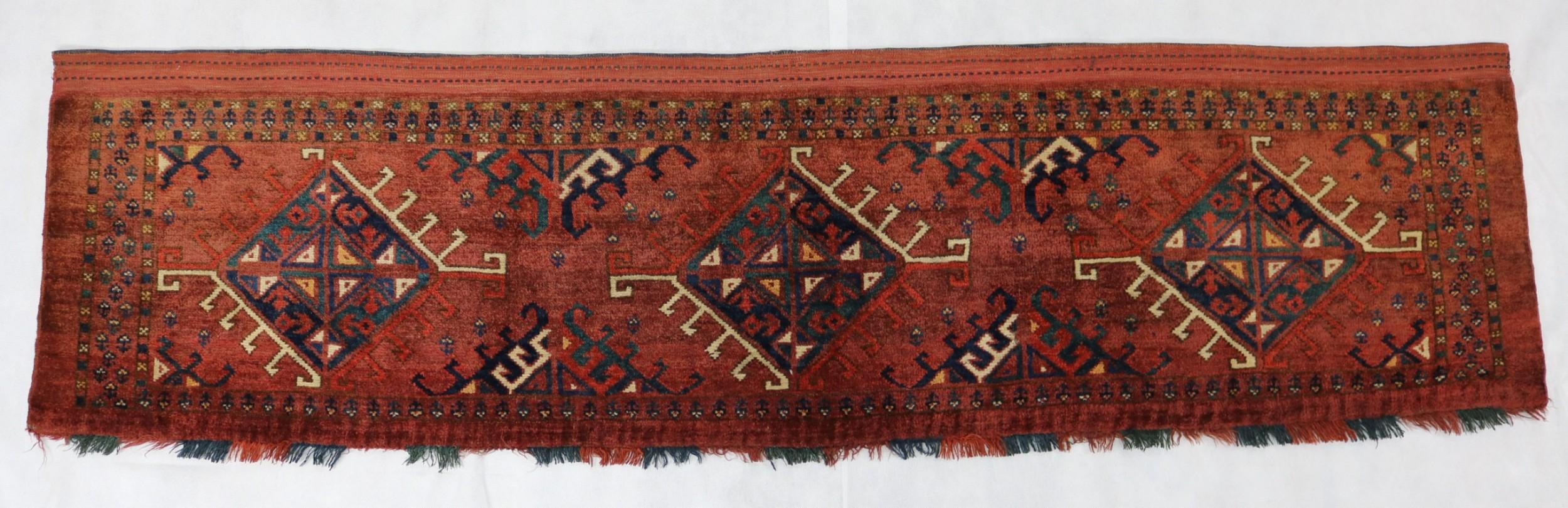 antique turkmen ersari torba rug 53x198 cm