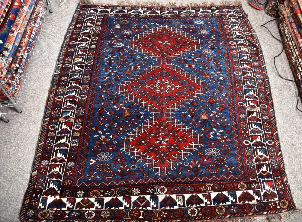 old persian khamseh tribal rug