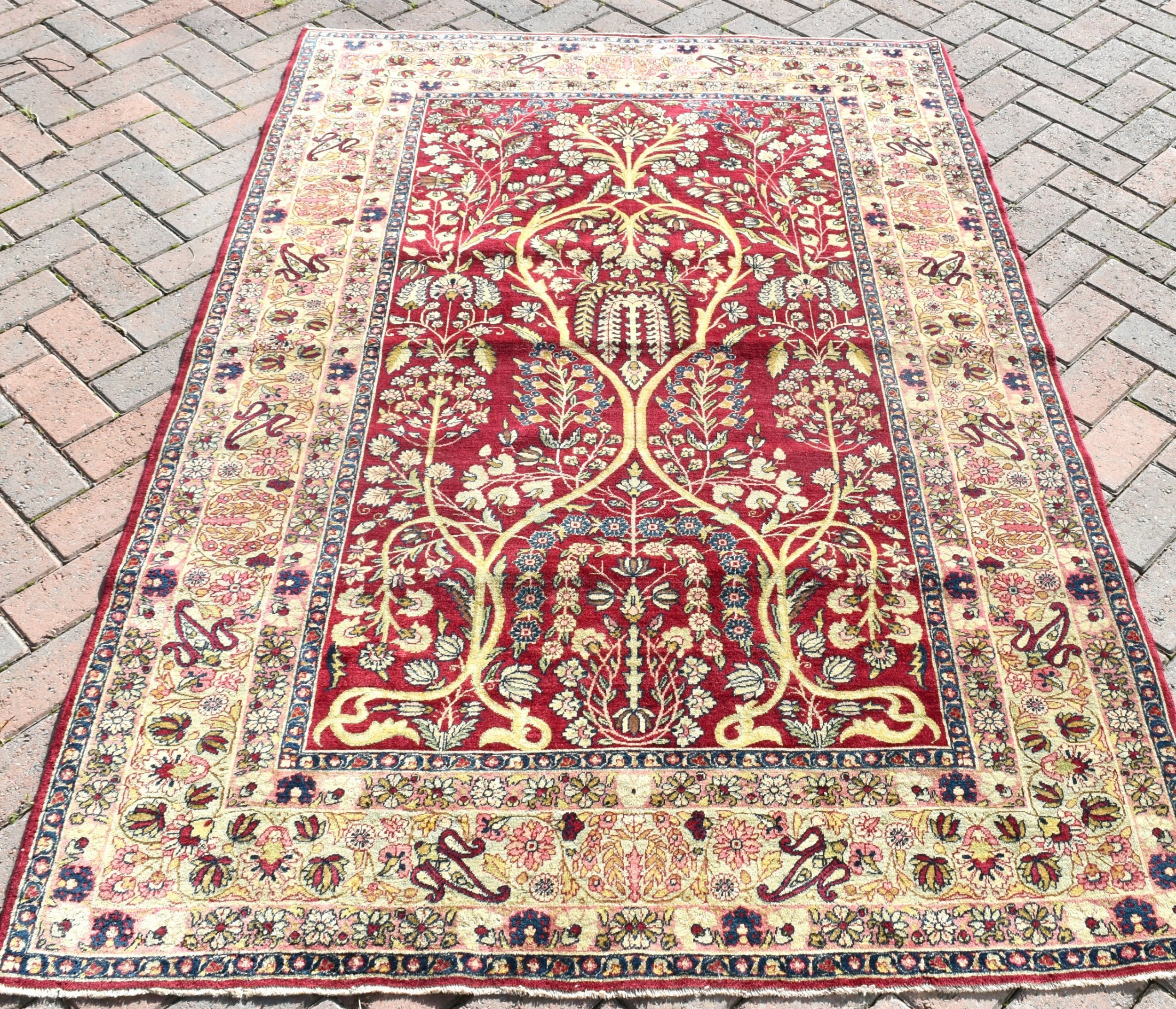 antique lavar kirman prayer rug