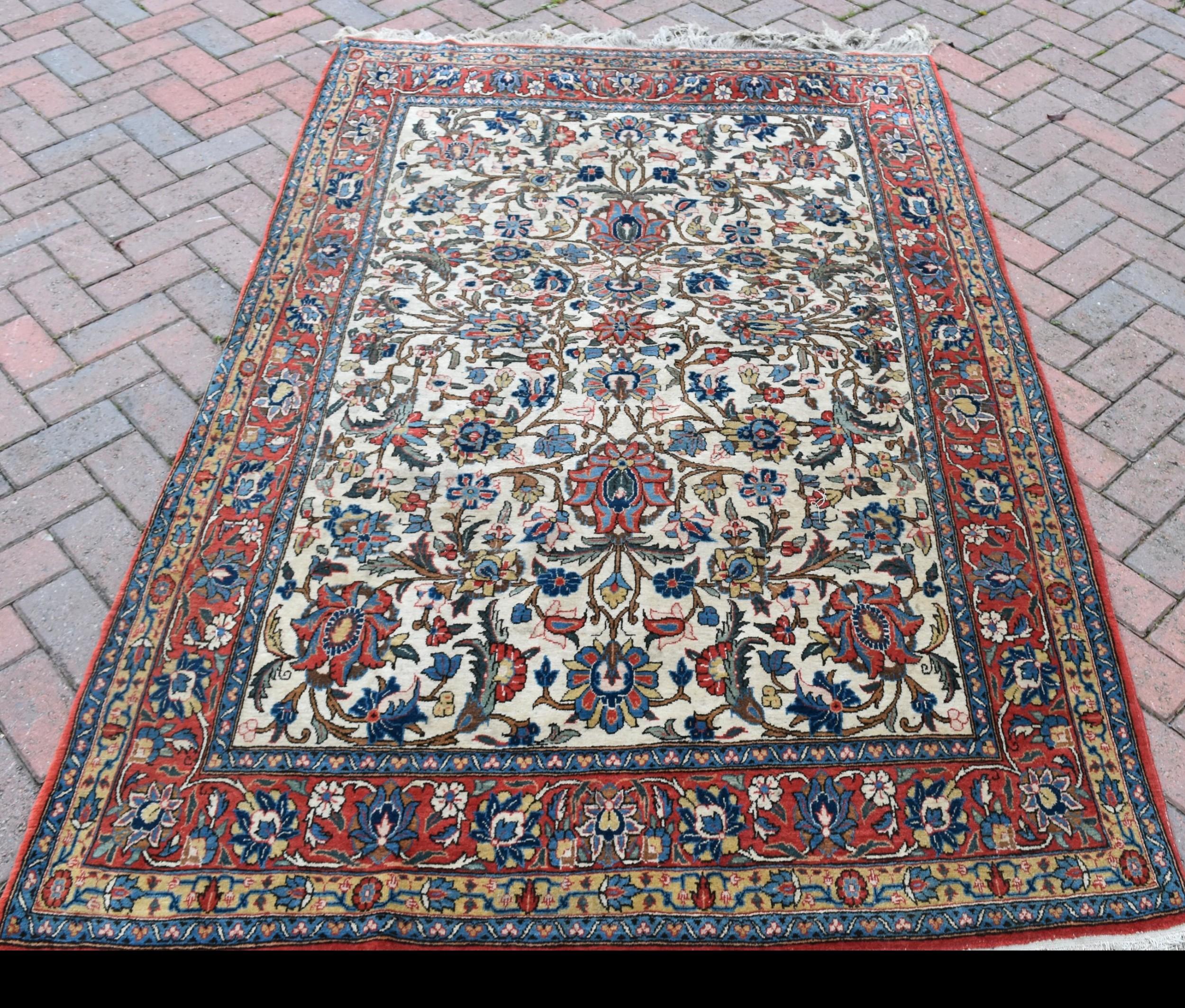 old persian qum rug 208x138cm