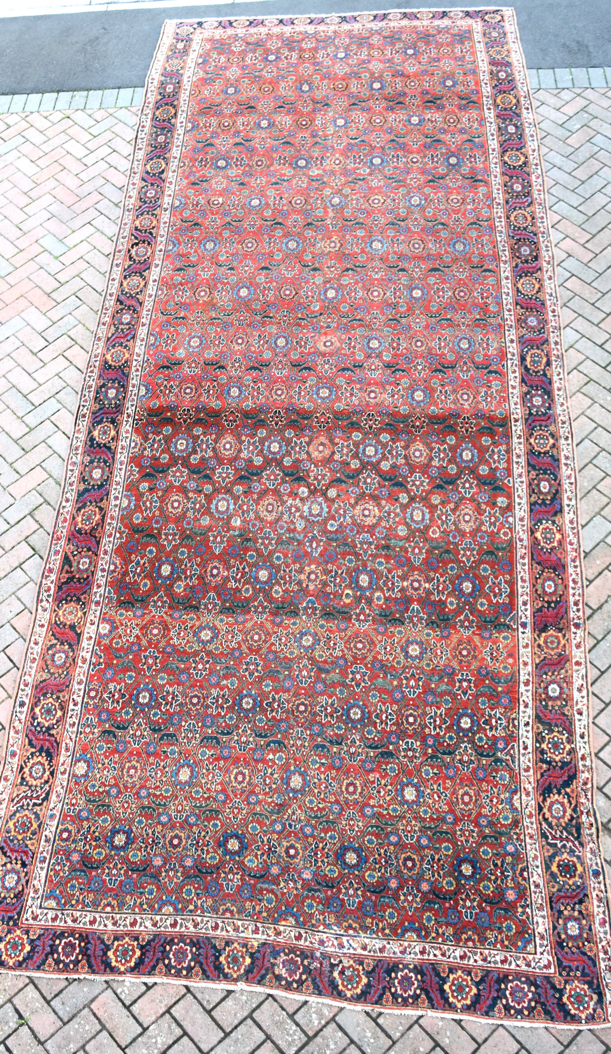 early north west persian kelleh carpet 613x214cm