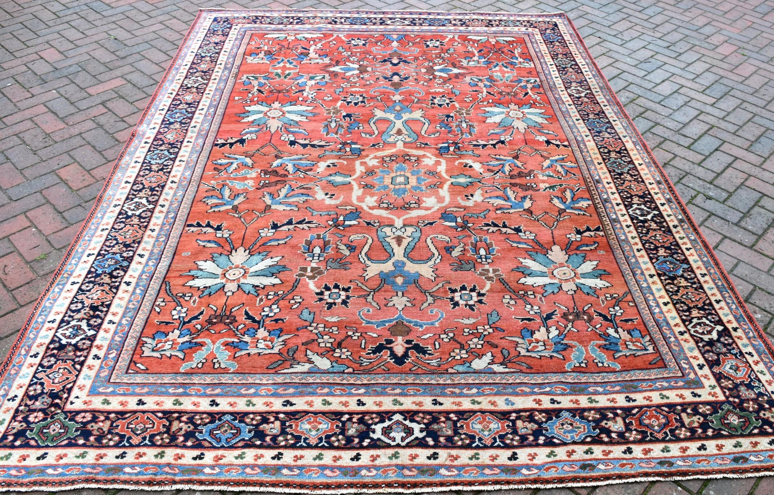 fine antique mahal carpet 378x229cm