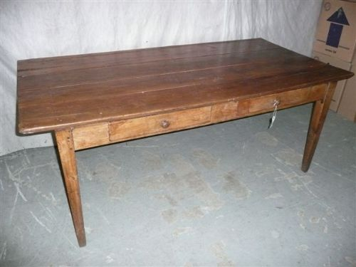 A French 19th Century Cherry Wood Farmhouse Table. Antique Photo