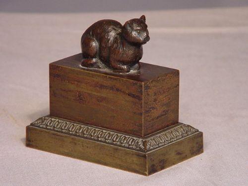 19th century bronze cat inkstand