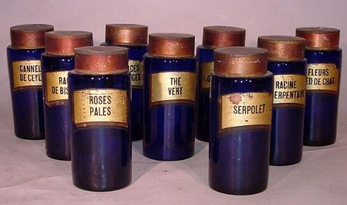 set of 9 bristol blue chemist jars