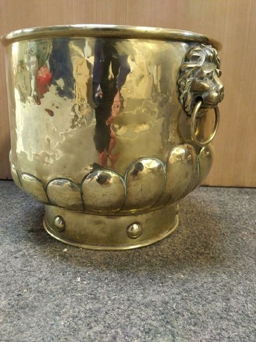a late 19th century brass jardiniere