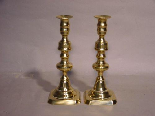 pair of late 19th century brass candlesticks