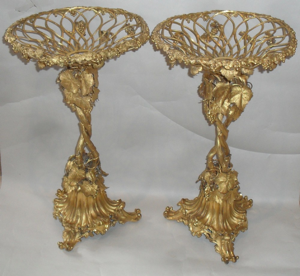 a pair of elkington gilded tazze