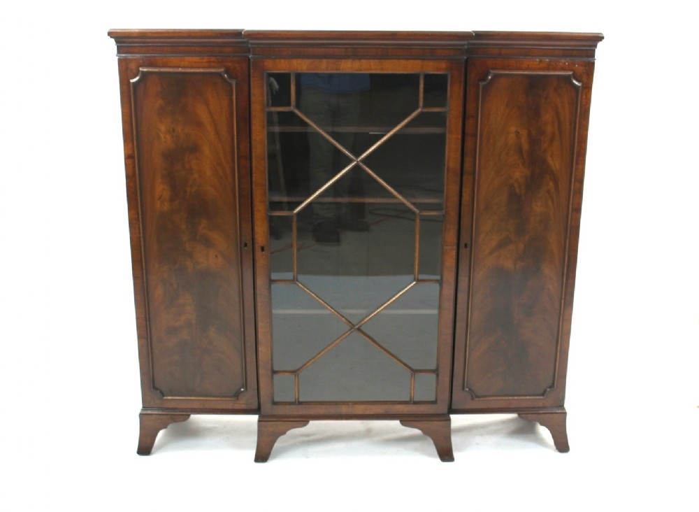 Antique mahogany glazed breakfront bookcase display cabinet for Antique display cabinet