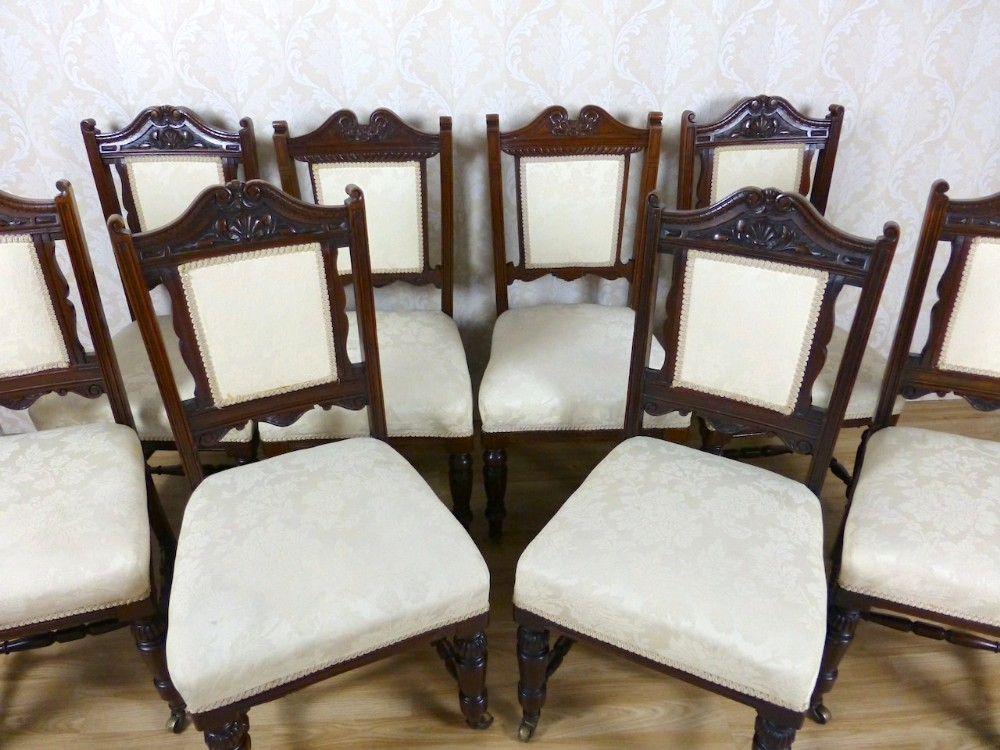 8 antique mahogany cream upholstered dining chairs - 8 Antique Mahogany Cream Upholstered Dining Chairs 259873